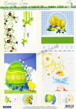 Classic Easter Eggs & Fluffy Yellow Chicks Die Cut 3d Decoupage 2 Sheets From Reddy Creative Cards